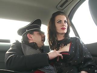 German MILF brunette babes in costumes fuck twosome big hard cock