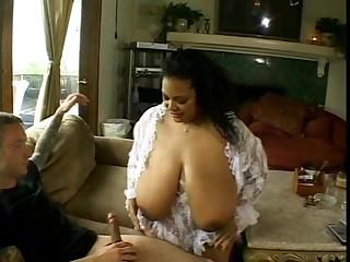 Fake tits BBW Renny jumbo long dick magnificent titjob