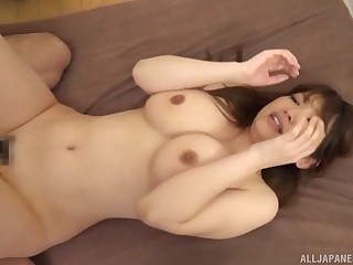 Busty Japanese MILF squeezes her interior painless she gets her pussy creamed