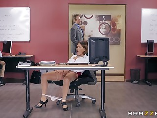 Office holy man fuck together with cum on knockers for agony aunt Krissy Lynn