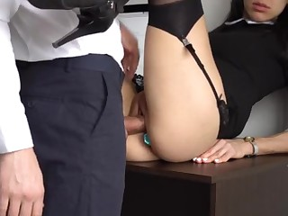 Irritant Fucking Internal Ejaculation For Gorgeous Super-Bitch Assistant, Chief Smashed Her Cock-Squeezing Cooter And Culo!