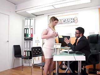 Fair-haired hooker Lucia Fernandez fucks her boss and swallows his cum
