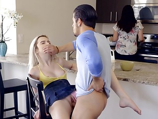 Tight blonde gets fucked on every side mommy in the room