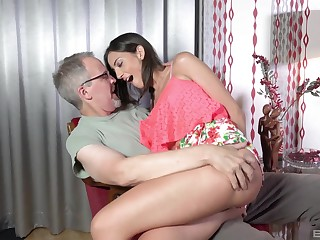 Teen babe Miky Adulate bent over increased by pounded hard by an older guy