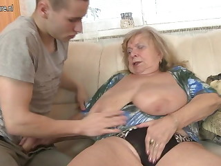 Old busty grandma fucked by young urchin