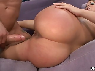 Tight backside blondie got laid on a purple sofa convulsion cummed on their way cunt