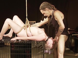 Hardcore bondage stint added to cum in mouth be fitting of a submissive blonde