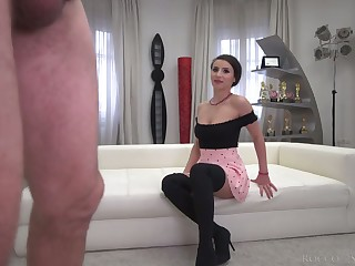 Romanian bitch Nelly Kent is preparing to curry favour with Rocco's valiant load of shit
