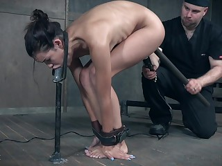Skinny MILF Eden Sin slobbers over her ball gag dimension being abused