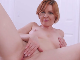 Redhead mommy stepmom masturbating with naff stepson