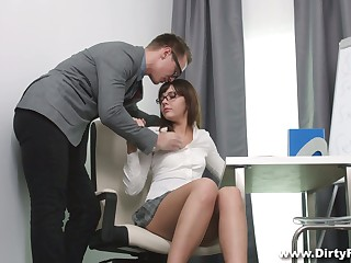 Shy nerdy mollycoddle in glasses Katty Blessed hooks up with her math trainer