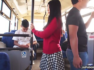 Several dudes roger yummy Japanese student Aimi Nagano in the bus
