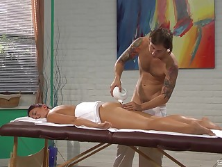 Mischa Brooks gets fucked on the game table unconnected with her horny masseur at near rub down