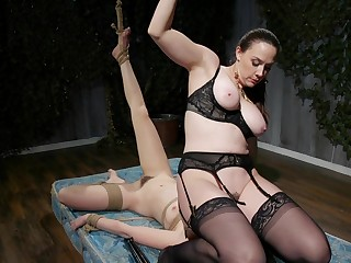 Lesbian BDSM fetish session with Chanel Preston and Jane Wilde