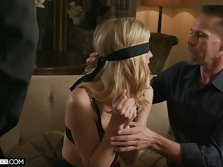 Blind folded blonde in sexy underthings Mona Wales is fucked by two horny dudes