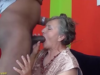 my chubby soft bush grandma enjoys her first obese black blarney interracial porn lesson