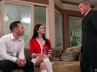 Rebecca Volpetti enjoys hardcore threesome with twosome saleable dudes