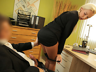 LOAN4K. Blond Hair Lady clamminess with pigtail is owned by loan...