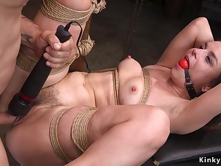 Gagged slave bootie flogged and pussy pounded