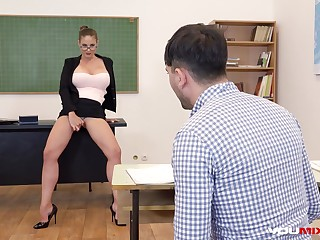 Bosomy Teacher Cathy Heaven fucks
