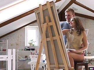 Sensually Gender His Teen Painting Student