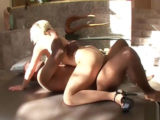 Blonde battle-axe wants his fat black cock