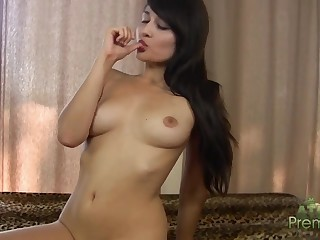 Fat red dildo for shaved pussy of skinny bitch Sophia