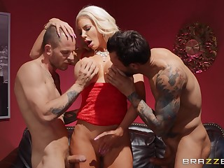 Two horny dudes are going nigh fuck Nicolette Shea parallel to small-minded person before