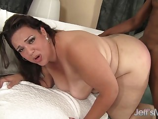 Sexy BBW MILF Angelina enjoys getting her pussy fucked hard and deep from behind in doggy aura