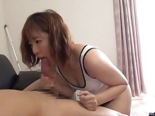 Lovable Japanese girlfriend concerning firm ass gives a sloppy blowjob