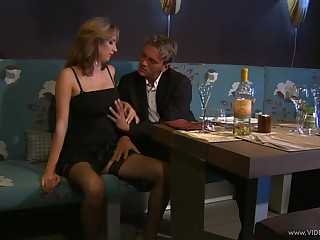 Astounding chic in nylon stockings huge a superb titjob till she gets cum on tits