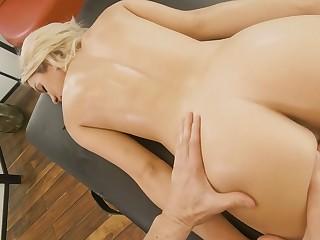 Slim blonde with yummy irritant Khloe Kapri is fucked by simmering massage boy