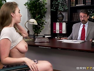Horny pupil Lena Paul gets fucked wide of the dean in his office