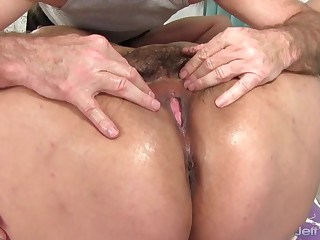 Sexy plumpers getting their bodies rubbed together with pussies teases by a masseur