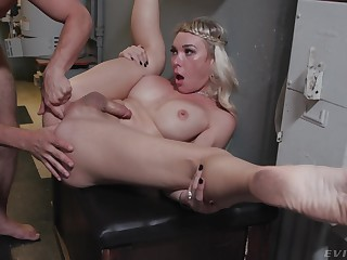 Stunning blonde shemale Aubrey Kate gets fucked before the wedding