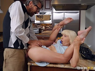 Excellent hard sex with step old man on the kitchen table