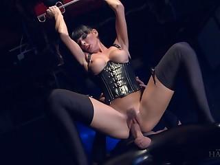 Czech bitch Mishka Devlin takes attaching in hardcore triad fetish sex