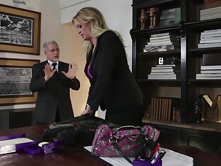 Plump blond milf Stormy Daniels is cheating on the brush husband with his own son