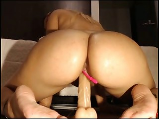 horny latina with glasses rides dildo