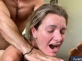 Muscular lady's man roughly having making love his wifee