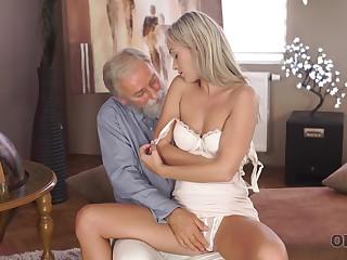 Tanned leggy slender girl Shanie Ryan is fucked by venerable haired pervert