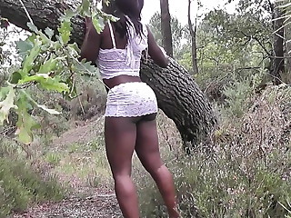 Amateur malicious babe in white lingerie buccaneering in nature
