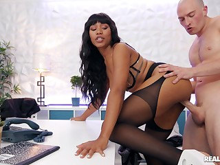Ebony at work goes full mode not susceptible slay rub elbows with boss's renowned white dick