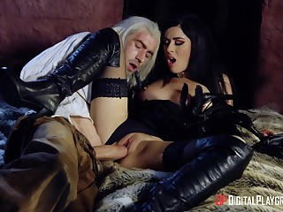 Intense hard sex for a brunette doll in sensual outfit