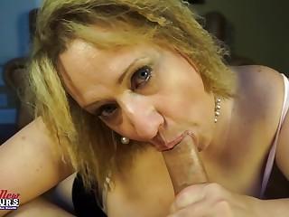 Donna sucks dick as a of age fat boob battle-axe