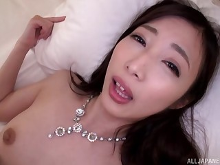 Japanese wife in fishnet stockings moans via pussy pleasuring