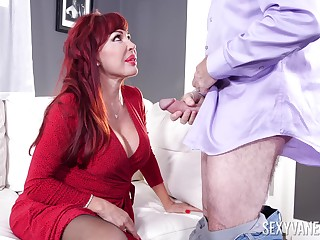 Sexy redhead BBW Sexy Vanessa has vilify about riding strong blarney