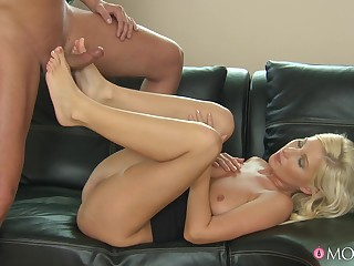 Busty blonde rides the lively inches of will not hear of boss on a leather couch