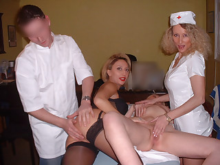 Young doctor and pervert nurses
