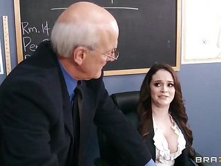 Filthy tutor Tessa Byway drops on will not hear of knees to give a deepthroat